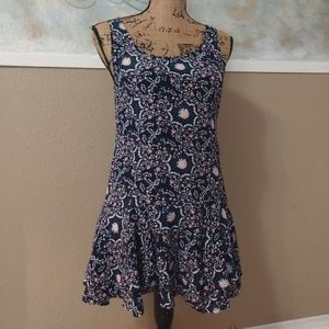 Blue Pink Floral Mini Dress Layered Zip Back FP